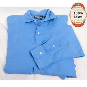 Polo Ralph Lauren Blue Linen Button Up Dress Shirt